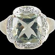 Prasiolite, Pale Green Amethyst Quartz Cocktail Ring