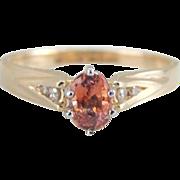 Lotus Blossom Padparadscha Sapphire and Diamond Engagement Ring