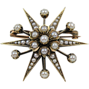 Antique Seed Pearl Starburst Brooch, Victorian Gold