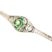 Bar Pin with Art Nouveau Four Leaf Clover and Cultured  Pearl Center