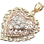SOLD RESERVED Vintage 14K Rose and Yellow Gold Filigree Heart Pendant with Diamond Center