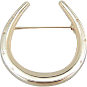 Lucky Horseshoe Brooch in Polished 14K Yellow Gold