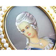 Exquisite Miniature, Hand-Painted Portrait Cameo with Fine Filigree and Pearl Frame Brooch, ..