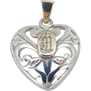 Open Work Heart Pendant, with Monogramed M Center