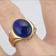 Retro Era Lapis Lazuli Ring with High Domed Center, Simple Setting