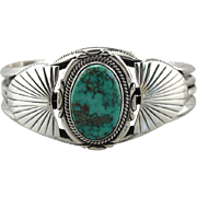Vintage Turquoise Sterling Silver Southwestern Style Cuff, Wide Leaf Frame, Stamped with Maker