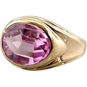 Unusual Pink Synthetic Sapphire Antique Signet Ring, Pinky Ring in Fine Gold