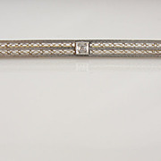 Early 1900's Filigree Bar Pin in Green and White Gold with Sapphires and Diamonds