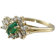 Emerald Cat's Eye with Diamond Lashes, Vintage Fine Gemstone Cocktail Ring