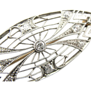 Stunning Platinum Filigree and Diamond Art Deco Brooch