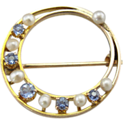 Vintage Circle Pin, Deco Era Pearl and Blue Doublet Brooch with Great Details