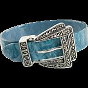 Marcasite Blue Lucite Sterling Silver Adjustable Bracelet