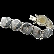 Round Link, Thai Dancers Siam Sterling Silver Bracelet