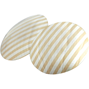 Pinstriped Perfection: Sterling Silver and 14K Yellow Gold Earrings, Simple Discs