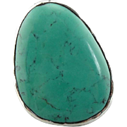 Soft Green Turquoise Statement Ring in Sterling Silver Mounting