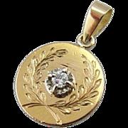 Antique Love Token, Diamond and Laurel Wreath Coin Pendant