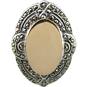 Glitzy Memories: Marcasite Inlaid, Monogram Ready, Signet Ring in Sterling and 14K Gold