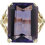 Vintage 1970's Amethyst Cocktail Ring with Butterfly Filigree Sides