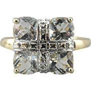 A Modern Renaissance: Bright Faceted White Topaz Cocktail Ring