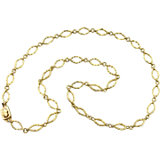Diamond Links,  22 Karat Yellow Gold Chain, Vintage Necklace