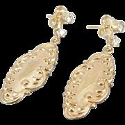 Stunning Art Deco 14K Gold and Diamond Cufflink Earrings