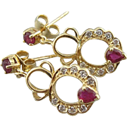 Vintage Ruby and Diamond Drop Earrings, Sweet Scalloped Hoops with Wonderful Glitter