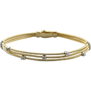 Diamond Minimalist: Weighty Italian, Three Strand Cable Style Bracelet