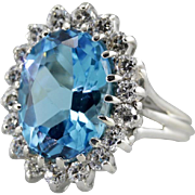 Bright Blue Swiss Blue Topaz Halo Cocktail Ring, 14K White Gold Ring with Incredible Diamond .