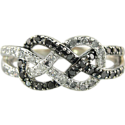 Double Black and White Diamond Knot, 10K White Gold Ring with Pave Diamonds