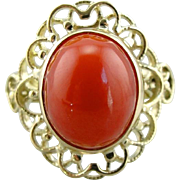 Coral Ring: Filigree and Deep Salmon Coral Ring from the Mid Century