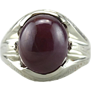 Deepest Raspberry: Unusual Purple Sapphire Cabochon, Vintage Statement Ring
