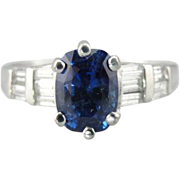 Ceylon Sapphire Engagement Ring in Platinum with Diamond Accents