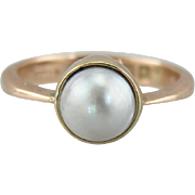 Pretty 9K Rose Gold & Cultured Grey Pearl,  Bezel Set Vintage Solitaire Ring