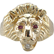 Vintage Lion Ring with Ruby Eyes and Diamond Mouth