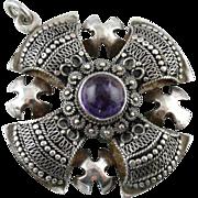 Amethyst Set, Maltese Cross, Sterling Silver Pendant from Jerusalem