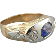 Upcycled Modernist Masonic Men's Ring with Sapphire Center, Retro Era Setting with Ceylon ...