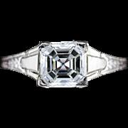 Asscher Cut Diamond, GIA Certified, in Art Deco Architectural Engagement Ring, 18 Karat White