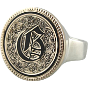 """Enameled Old English """"G"""" Monogram Two Tone Signet Ring in 14K Antique Gold and Sterl"""