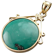 Stunning Turquoise Pendant in a Vintage 14K Gold Frame