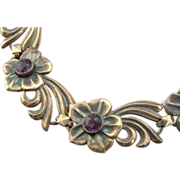 Sterling Silver Flower Link Bracelet with Purple Rhinestone Centers