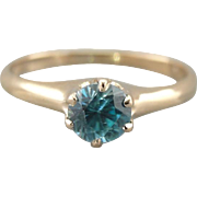 Simple and Sweet Blue Zircon Solitaire in Antique Engagement Mounting