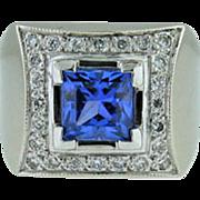 Vintage 14K white gold diamond & Tanzanite ring