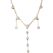 Vintage Diamond Necklace with 3 carats total weight in14k yellow gold.