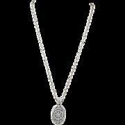 Vintage 18k white gold pave' diamond pendant Circa: 1980's