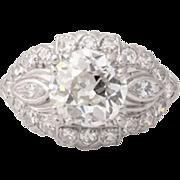 Estate Platinum  Vintage Diamond Ring 2.00cttw Circa 1920's/1930's.