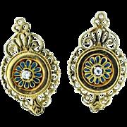 Vintage 14k yellow gold earrings diamond & enamel