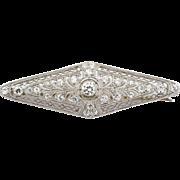 Art Deco estate  platinum & 18k yellow gold  diamond brooch Circa1920's.
