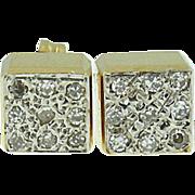Vintage 14k yellow gold diamond earrings