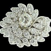 Vintage Estate 14k white gold diamond swirl ring.