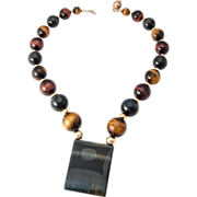 """Tri Color Tiger Eye & 14K Yellow Gold  Bead Necklace By Artist"""" Ronjon"""""""